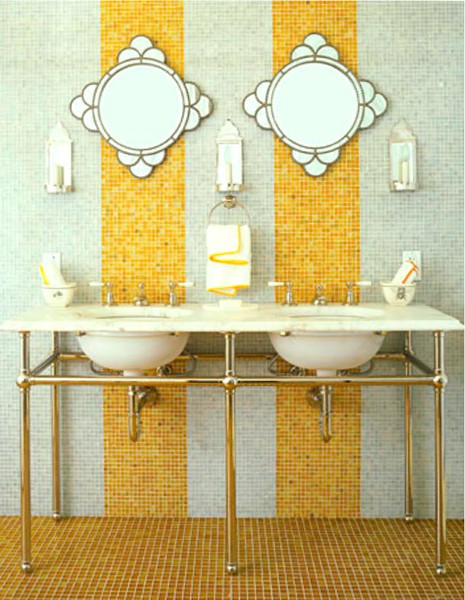 My yellow tile fever a perspective of design for Bathroom ideas yellow walls