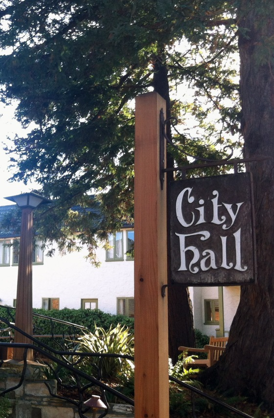 Even City Hall has its character with a beautiful wooden and hand carved/painted sign.