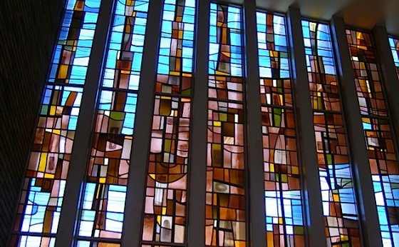 Chapel windows by Jean-Jacques Duval at Jean-Jacques Duval's Connecticut Synagogue.